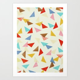 Multi coloured triangles in pastel shades Art Print