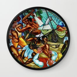 "African American Classical Masterpiece ""The Mutiny on the Amistad"" by Hale Woodruff Wall Clock"