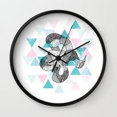 Geometric snake attack Wall Clock