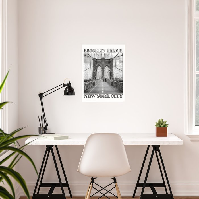 Brooklyn Bridge New York City (black & white edition with text) Poster