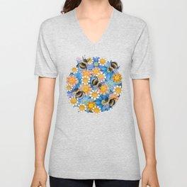 Bumblebees on blue flowers Unisex V-Neck