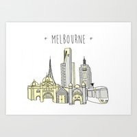 melbourne Art Prints featuring Melbourne  by Anne Moloney