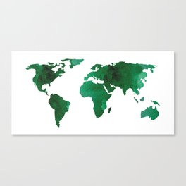 World Map Vibrant Green Earth Canvas Print