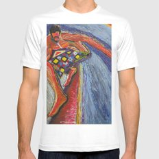 The Tom Sellecka MEDIUM White Mens Fitted Tee