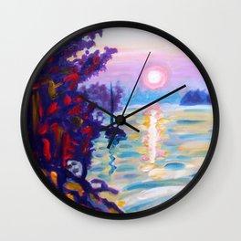 Gold Island Sunset Wall Clock