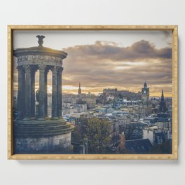 Edinburgh city and castle from Calton hill and Stewart monument Serving Tray