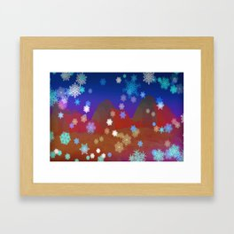 Mountains and Snowflakes Framed Art Print