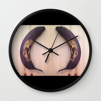 evil dead Wall Clocks featuring Evil Banana 2: Dead by Dawn by Stephan Brusche