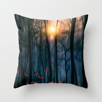 leaves Throw Pillows featuring Red feather dance  (colour option) by Viviana Gonzalez