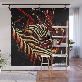 1206s-AK Abstract Striped Nude Rendered in Red Yellow and Gold Wall Mural