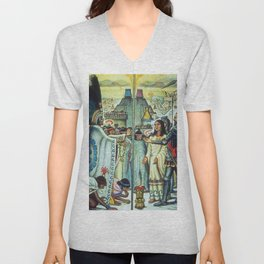 The Meeting of Monteczuma, Malinche, & Cortés 1521, Tenochtitlán by Diego Rivera Unisex V-Neck