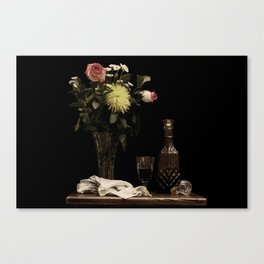 Still Life Nature Photography Wine and flowers Canvas Print