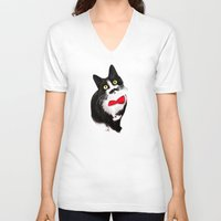 muppet V-neck T-shirts featuring Muppet the Moustached Cat by EggsBFF