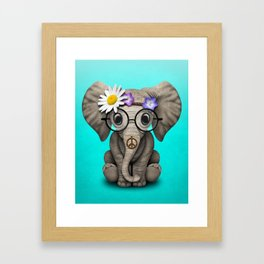 Cute Baby Elephant Hippie Framed Art Print