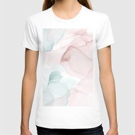 Blush and Blue Flowing Abstract Painting T-shirt
