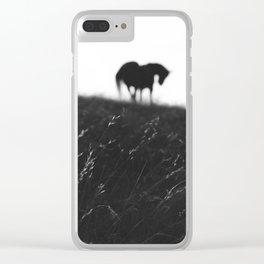 Horses on horizon Clear iPhone Case