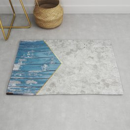 Geometric Concrete Arrow Design - Blue Wood #347 Rug