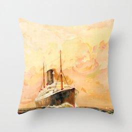 Anchor Line Glasgow to New York Throw Pillow