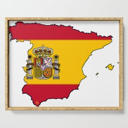 Spain Map with Spanish Flag Serving Tray