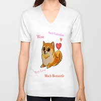 valentines V-neck T-shirts featuring Valentines Doge by Keri Lynne