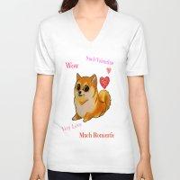 doge V-neck T-shirts featuring Valentines Doge by Keri Lynne