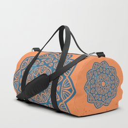 pattern mandala blue and orange Duffle Bag