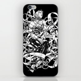 Lady in Belts Fantasy. Black Ink. Yury Fadeev. iPhone Skin