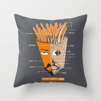french fries Throw Pillows featuring French Fries Anatomy by Pigboom Art