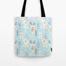 From Bears And Christmas-Cute teal X-Mas Pattern Tote Bag
