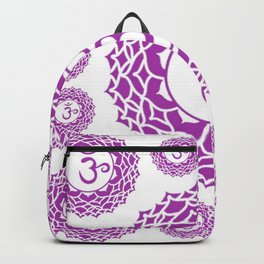 """PURPLE CROWN  PSYCHIC CHAKRAS  WHEEL """"KNOW"""" Backpack"""