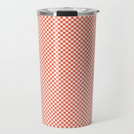 Small Living Coral Color of the Year in Coral Orange and White Checkerboard Travel Mug