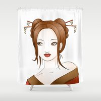 asia Shower Curtains featuring Asia by Li-Bro