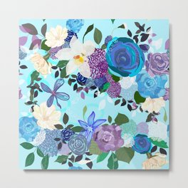 Blue and purple colored roses. Vanilla and abstract flowers. Floral pattern Metal Print
