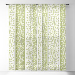 Mid Century Modern Berry Vine Stripes Chartreuse Sheer Curtain