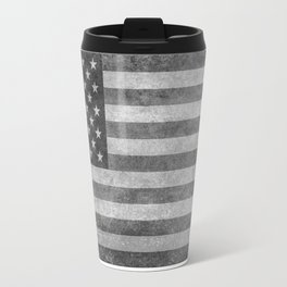 USA flag - Grayscale high quality image Travel Mug