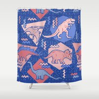edm Shower Curtains featuring Nineties Dinosaurs Pattern  - Rose Quartz and Serenity version by chobopop