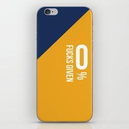 0% Fucks Given - Blue Mustard iPhone Skin