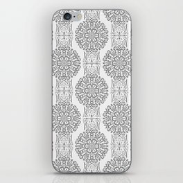 Gray white Damask ornament . iPhone Skin