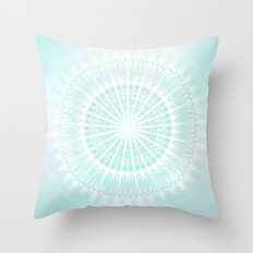 Turquoise Glittering Mandala Throw Pillow