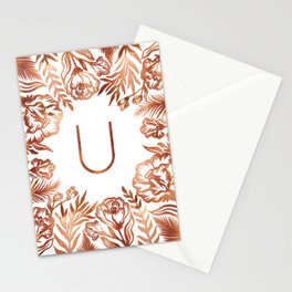 Letter U - Faux Rose Gold Glitter Flowers Stationery Cards