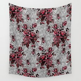 Vintage Roses and Spiders on Lace Halloweeen Watercolor Wall Tapestry