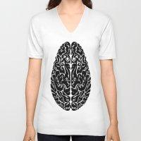 brain V-neck T-shirts featuring Brain by FractalFox