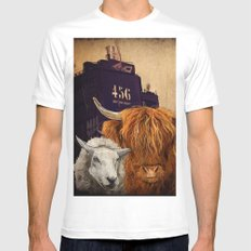 Sheep Cow 123 White Mens Fitted Tee MEDIUM