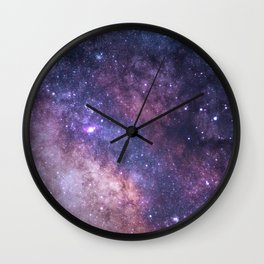 Purple Galaxy Star Travel Wall Clock