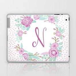 Monogram N - cute girls purple florals flower wreath, lilac florals, baby girl, baby blanket Laptop & iPad Skin