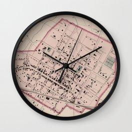 Vintage Map of Charlottesville VA (1877) Wall Clock