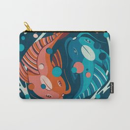 Japanese fishes in a in and jan circle - flat abstract illustration in limited ocean water blue and japan color palete Carry-All Pouch