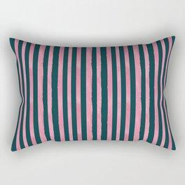 Pink and Emerald Watercolor Stripes Rectangular Pillow