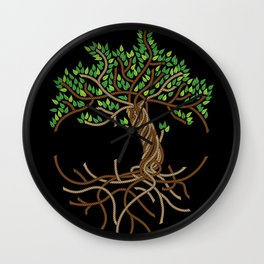 Rope Tree of Life. Rope Dojo 2017 black background Wall Clock