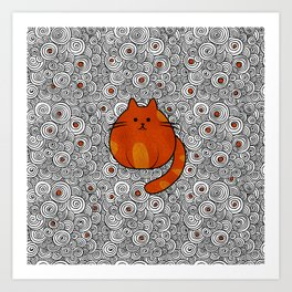 Cute Ginger Cat - Stained glass and swirls Art Print